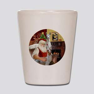 Santa with his Mama Llama  Baby Shot Glass